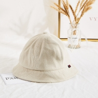 China Winter Unisex Terry Cloth Soft Fabric Bucket Hat Cream Color wholesale