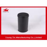 China YT1188 Round Cylinder Plain Black Metal Tea Containers Safe Packaging Custom wholesale