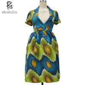 China African Print Dresses Short Sleeve Deep V neck Casual Dress wholesale