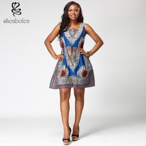 China 100% Wax Cotton Short Sleeve African Print Dresses Medium Length Square Collar wholesale