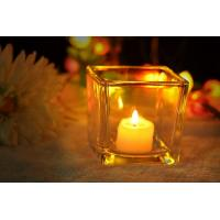 China 7 oz Square Thick modern glass candle holders / 230ml glass jar candle holders wholesale