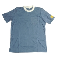 China Light Blue 96% Polyester 5mm Strip Short Sleeve ESD Smock wholesale