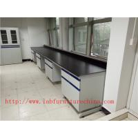 China 1500 mm   Width  Steel Wood Frame Blue /  White Science Lab Testing Tables Used  Furniture For High School / Hospital on sale