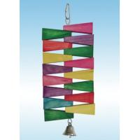 China wooden blocks bird toy made with colorful wooden pieces and bells wholesale