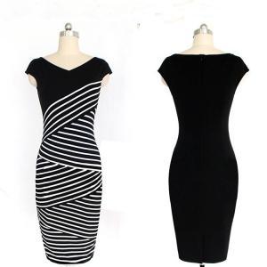 China JS 20 Wholesale Ladies Striped Stitching Dress Irregular Big Size Middle Length Pencil Dress 744 wholesale