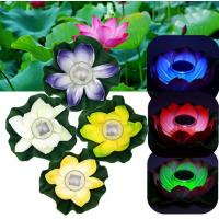 China Multi-Color RGB Garden Pool Floating Lotus Solar Powered LED lamp Flower Night Light Fountain Pond Solar Lighting wholesale