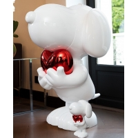 China Snoopy Cartoon Character Sculptures Surface Brushed Dog Garden Statues Ornaments wholesale