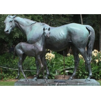 China BLVE Bronze Horse And Foal Statues Garden Animal Sculpture Life Size Outdoor Decoration wholesale
