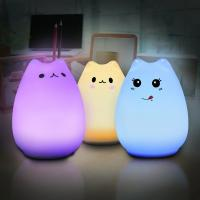 Quality Rechargeable Dim Led Color Changing Night Light With 7 Color Mood , Sensitive Pat Control for sale