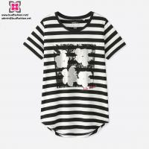 China Wholesale Custom Women Modal Yarn Dyed Stripe Short Sleeve T-Shirt on sale