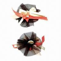 China Fancy brooch, made of mesh and satin ribbon, in 8cm diameter wholesale