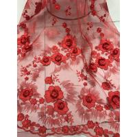 China Red 3D Flower Embroidered Tulle Lace Fabric / Wedding Dresses Sequins Beaded Lace wholesale