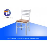 China Leisure Mod Brushed Aluminum Mental Navy Chair With Solid Wood Seat wholesale