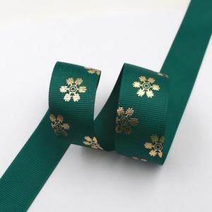 China Dark Green Hot Foil Ribbon , Flowers Printing Thin Gift Wrap Ribbon wholesale