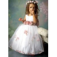 China sleeveless white  A-line  tulle  handmade flower girl dress wholesale