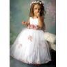 Buy cheap sleeveless white A-line tulle handmade flower girl dress from wholesalers