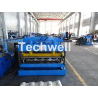China Metal Glazed Wave Tile Roll Forming Machine With Welded Wall Plate Frame and Chain Drive wholesale
