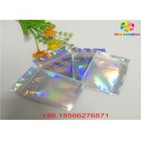 China Matte Finished Hologram Foil Zip Lock Bags Face Mask Cosmetic Sample Flat Pouch wholesale