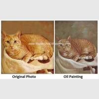 China Cat Portrait Oil Painting Hand - Painted With Texture Turn Your Photo Into A Painting wholesale