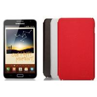 China Custom Black Red Gray Leather Samsung Galaxy Note Protective Case Cover on sale
