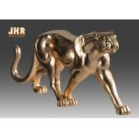China 130cm Leopard Sculpture Decor With Gold Leaf Finish Polyresin Animal Statue on sale