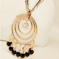 China 2015  Costume Fashion Jewelry Round Luxury Necklace Tassels Drip Retro Sweater Necklace for Women Long Chain Necklace wholesale
