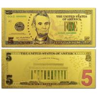 China US Gold Banknote 5 Dollars Bill Gold Plated Banknote wholesale