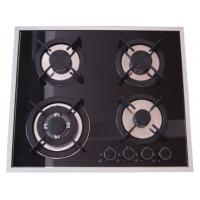 China Built In Installation Home Gas Stove 8mm Tempered Glass Panel Stainless Steel Surface wholesale
