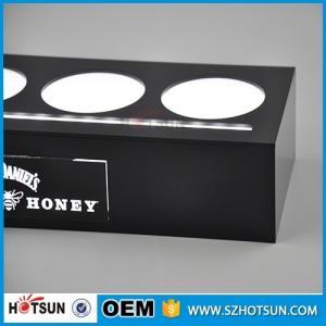 Quality Acrylic illuminated led bottle base for 4 bottles, lighting liquor bottle display for sale