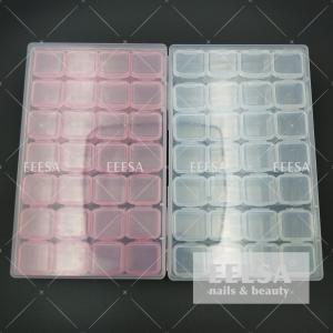 China 28 Grids Clear Nail Art Rhinestone Jewelry Bead Plastic Nail Art Storage Box wholesale