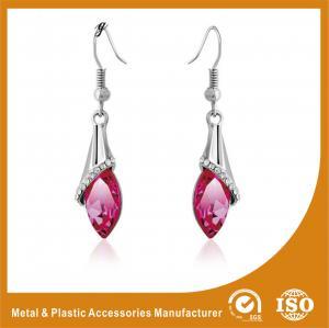 China Rhinestone / Pink Stone Long Earrings Nickel Free Lead Free 4.5cm wholesale