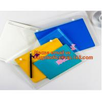 China OEM Office stationery filing supplies plastic document pp envelope carrying file folder bag with button closure wholesale