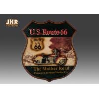 China Route 66 Wall Decor Resin Motorcycle Wall Art Sign Antique Wood Wall Mounted Plaques on sale