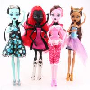 Fashion Dolls 4 pcs/set Draculaura/Clawdeen Wolf/ Frankie Stein / Black WYDOWNA Spider Moveable Body Girls Toys Gift