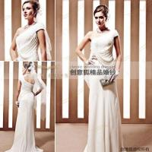China straight taffeta long bridal dresses ,  olique shoulder bridal dresses wholesale