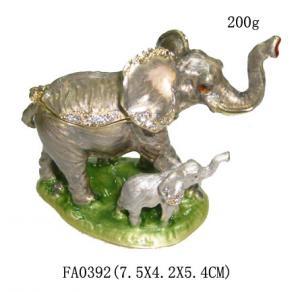 China Elephant Trinket Box Mom & Baby Bejeweled Figurine on sale