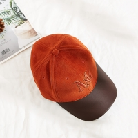 China New Style Caps Hats Custom Hat Embroidered Suede Baseball Cap with PU brim wholesale