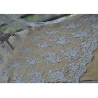 China Floral Beaded Corded Lace Fabric , Ivory Embroidered Lace Fabric With Wavy Edging wholesale