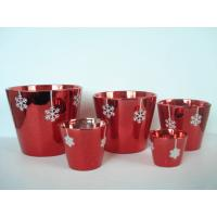 China Christmas Red Electroplated Ceramic Flower Pot For Plants 7 X 7 X 7 Cm , Flake Design wholesale