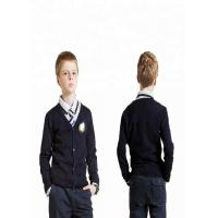China Navy Blue V Neck School Uniform Sweaters Cardigan Simple Pattern For Boys on sale