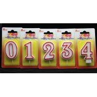 China Number Birthday Candles With Red Edge And Plastic Holder wholesale