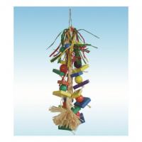 China natural wooden bird toys 15 inches raffia grass and corn husk string for cockatiel wholesale