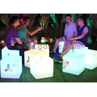 China LED Ottoman Cube Bar Chairs , Rechargeable Waterproof Glowing Cube Table wholesale
