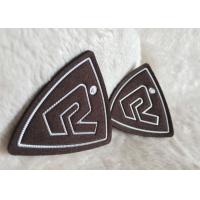 China Customized Brown Suede Embossed Leather Patches , Shiny Siliver High Density Tpu Logo wholesale
