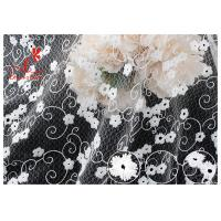 China Allover Floral Embroidered Mesh Lace Fabric With Poly Milky Silk By 100% Inspect wholesale