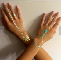 China Blue stone gold temporary tattoo sticker fake jewelry for body wholesale