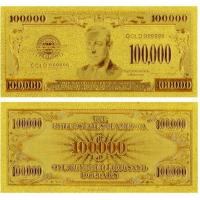 China American Gold Plated Banknote Business Gift 100000 Dollar Bill wholesale