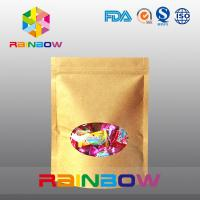 China Ziplock Kraft Paper Packaging Bag With Round Window For Packing Candy / Snack Food wholesale