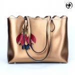China Factory new design tote ladies bag golden color woman beach handbag handmade tote leather bag wholesale