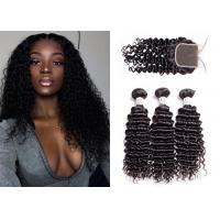 China Grade 10A Deep Curly Hair Extensions , No Shedding Brazilian Deep Curly Weave wholesale